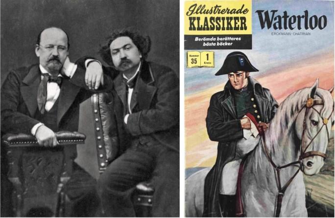 Émile Erckmann (t.v.) with Alexandre Chatrian (t.h.), och omslag till Illustrerade klassiker 35. ©IK/Gilberton