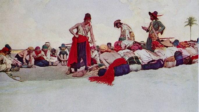 Pirater delar upp sitt byte, en oljemålning av Howard Pyle (1905) från Delaware Art Museum.