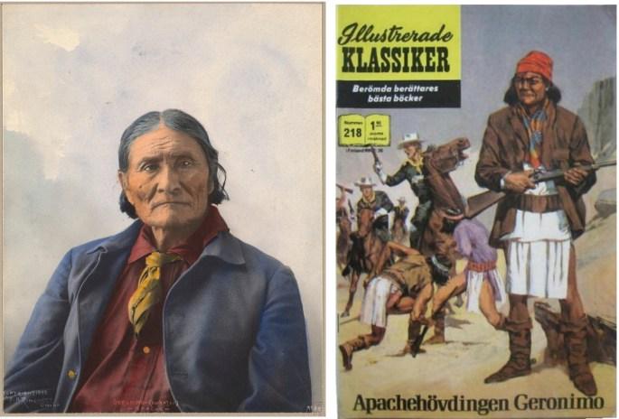 Geronimo på äldre dar, och omslag till Illustrerade klassiker 218. ©Williams