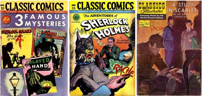 Omslag till Classic Comics #21 och #33, och Classics Illustrated #101. ©Gilberton