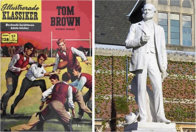 Omslag till Illustrerade klassiker 128, och staty av Thomas Hughes utanför Rugby School. ©IK/Gilberton