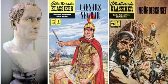 Byst  av Julius Caesar, och omslag till Illustrerade klassiker 28 och 212. ©IK/Gilberton/Williams