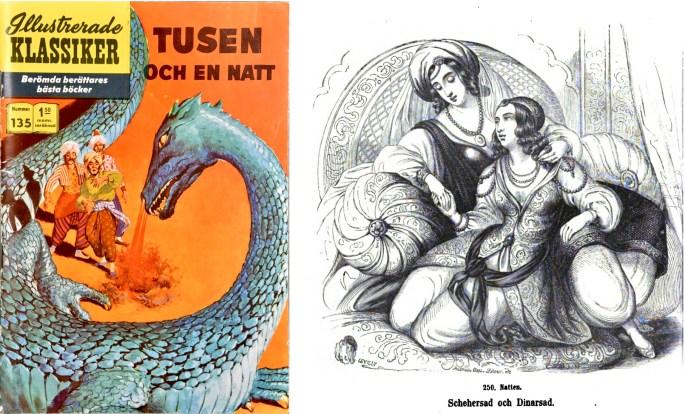 Omslag till Illustrerade klassiker 135, och illustration ur svensk översättning av Tusen och en natt (1854). ©IK/Gilberton