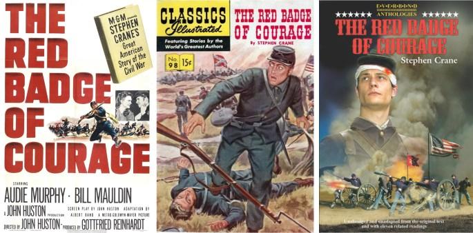 Filmaffischer från 1951 (t.v.) och 1974 (t.h.), och omslag till Classics Illusterade #98 (mitten).