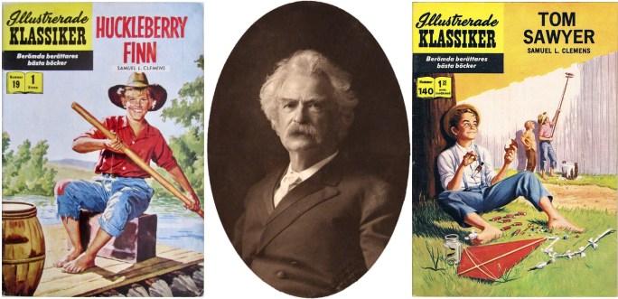 Omslag till Illustrerade klassiker 19 och 140, och fotografi av Mark Twain (1900). ©IK/Gilberton
