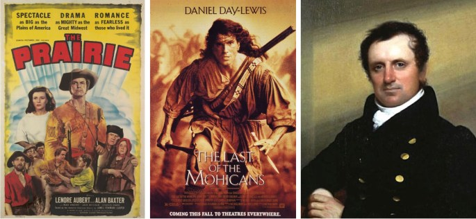 Filmaffisher från The Prairie (1947), The Last of the Mohicans (1992), och porträtt av James Fenimore Cooper.