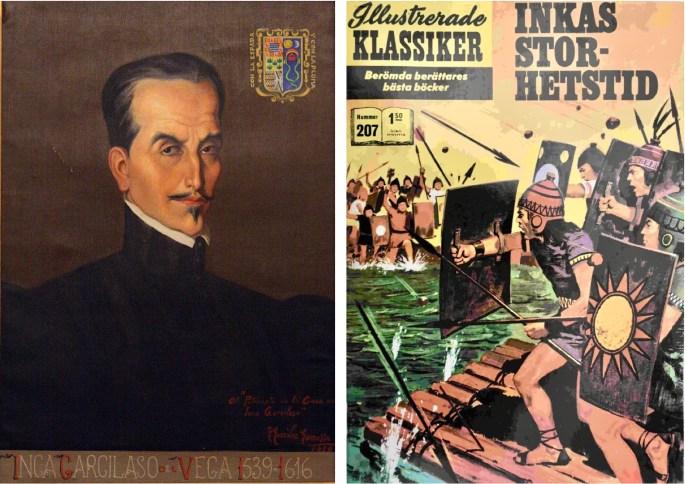 Porträtt av Inca Garcilaso de la Vega målat av Francisco González Gamarra, från Casa del Inca, Montilla (Córdoba), och omslag till Illustrerade klassiker 207. ©Williams