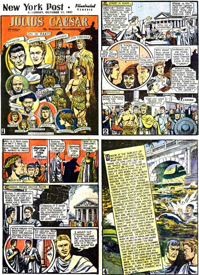 Inledande fyra sidor (av totalt 64) ur Julius Caesar, från 11 oktober, 1947. ©Gilberton