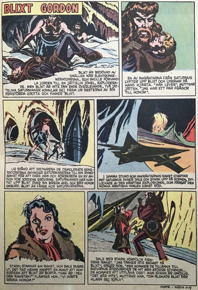 En sida med Blixt Gordon i Karl-Alfred nr 1, 1953. ©Bulls