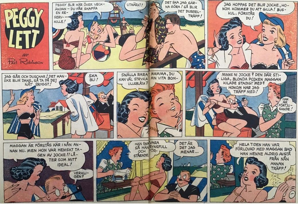 Ett uppslag med Peggy Lett ur Karl-Alfred nr 1, 1953. ©Bulls