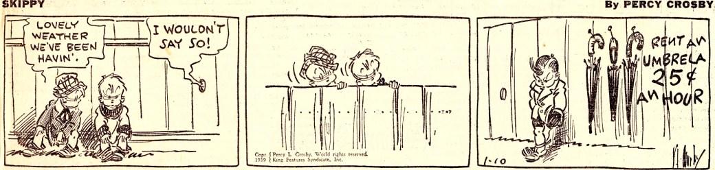 En dagsstripp med Skippy (Lasse) från 10 januari 1939. ©KFS