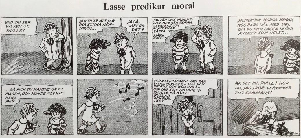 Första strippen med Lasse (Skippy) i Karl-Alfred nr 1, 1946. ©Bulls