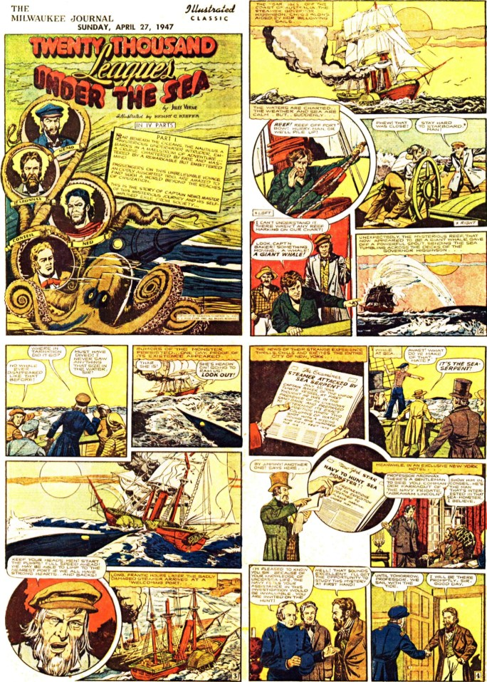 Inledande fyra sidor (av totalt 64) ur 20.000 Leagues Under the Sea, från 27 april, 1947. ©Gilberton
