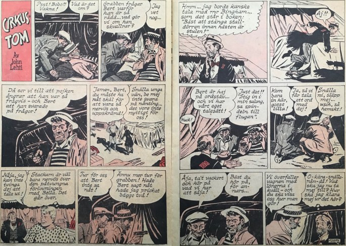 Ett uppslag med Cirkus-Tom ur Karl-Alfred nr 1, 1953. ©Bulls