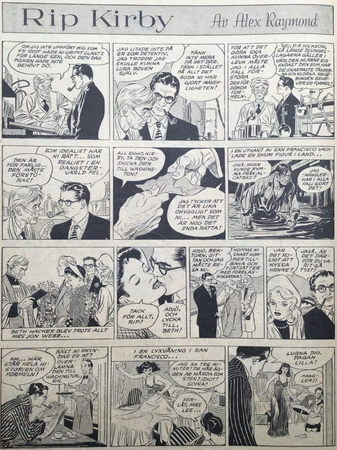 Sidan med Rip Kirby i Karl-Alfred nr 9, 1947. ©Bulls