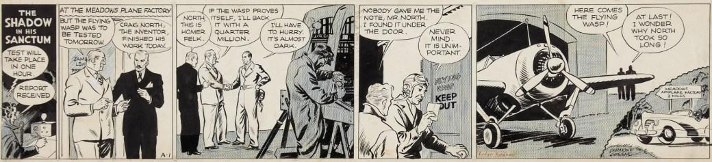 Dagsstripp nummer A-1, den första ur den andra episoden av The Shadow (Gäckande Skuggan), från 12 augusti, 1940. ©Ledger