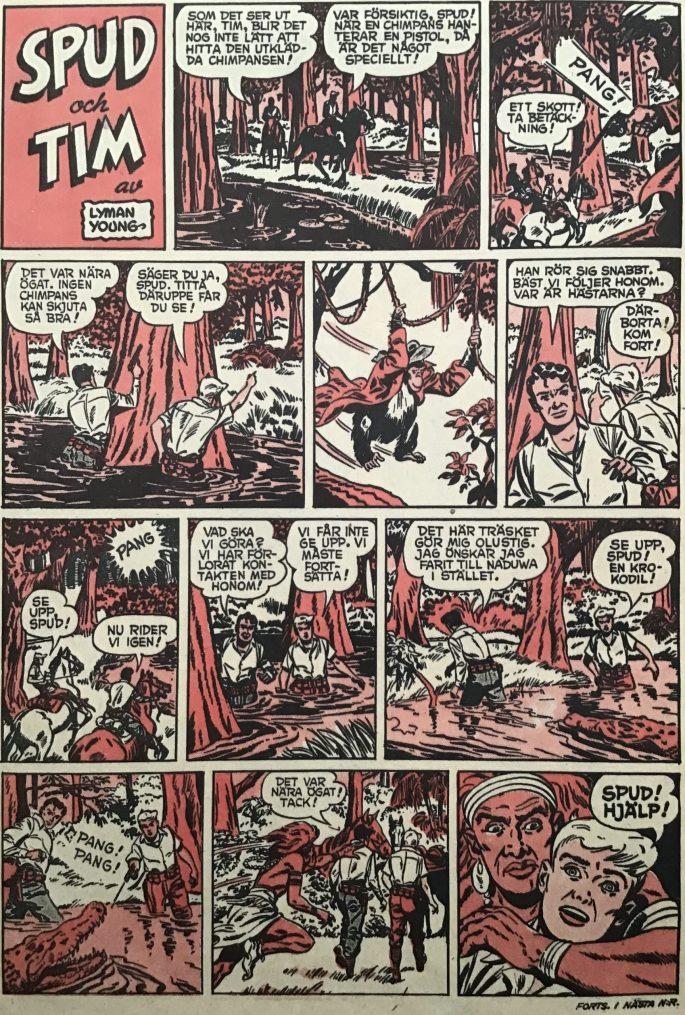 En sida med Spud och Tim ur Karl-Alfred nr 1, 1953. ©Bulls