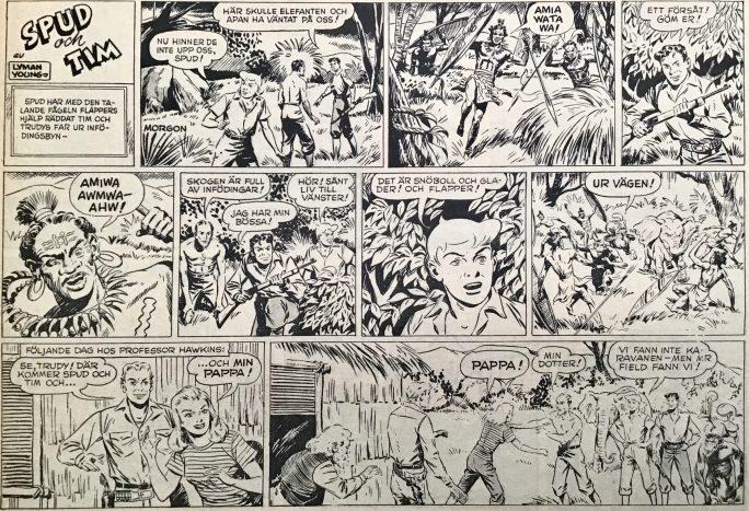 Första strippen med Spud och Tim ur Karl-Alfred nr 12, 1950. ©Bulls