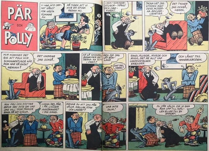 Ett uppslag med Pär och Polly ur Karl-Alfred nr 1, 1953. ©Bulls
