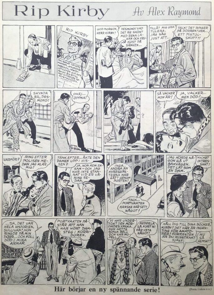 Första stripparna av Rip Kirby inledde publiceringen i Karl-Alfred nr 34, 1946. ©Bulls