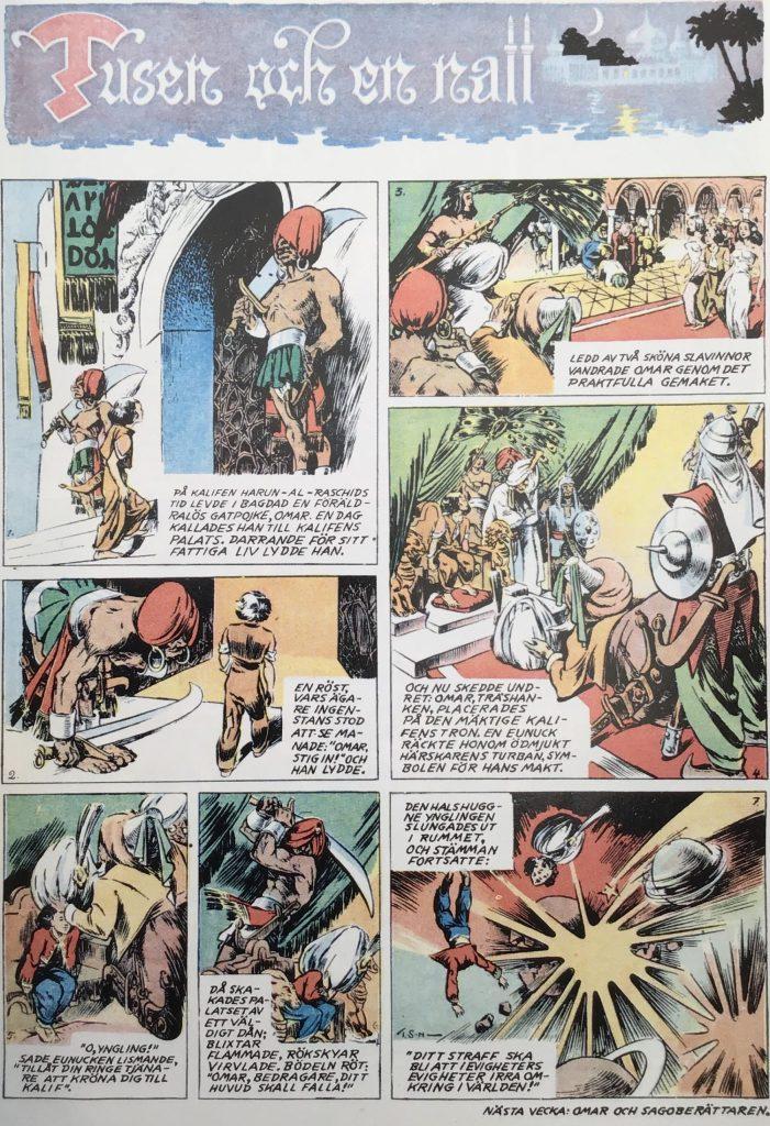 Den allra första sidan med Tusen och en natt, ur Karl-Alfred nr 1, 1946.