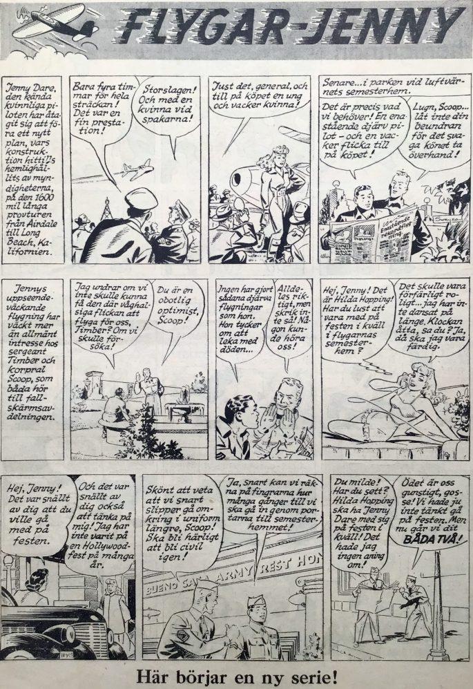 Första sidan med Flygar-Jenny från Karl-Alfred nr 10, 1948. ©Bell