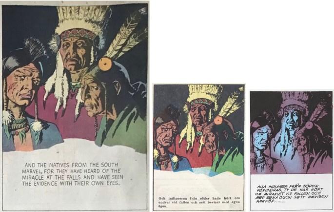 Skillnaden i färgläggning mellan original, Karl-Alfred och seriealbum (Semic). ©KFS/Bulls