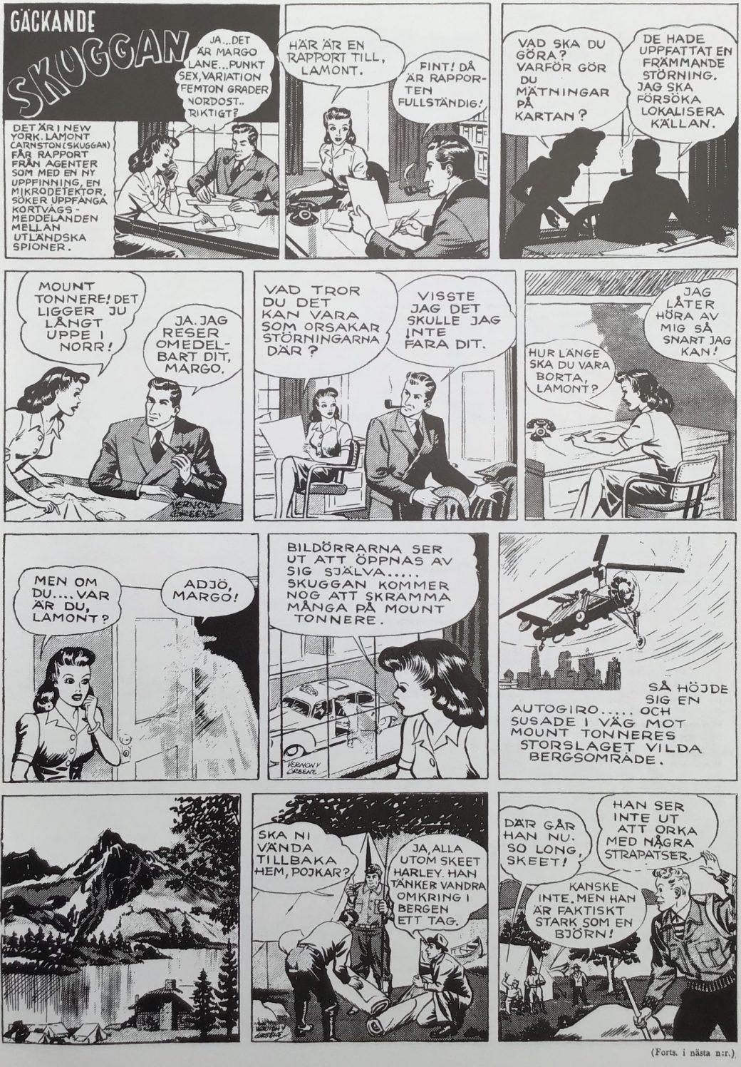 Första sidan med Gäckande skuggan (The Shadow) ur Karl-Alfred nr 1, 1946. ©Ledger