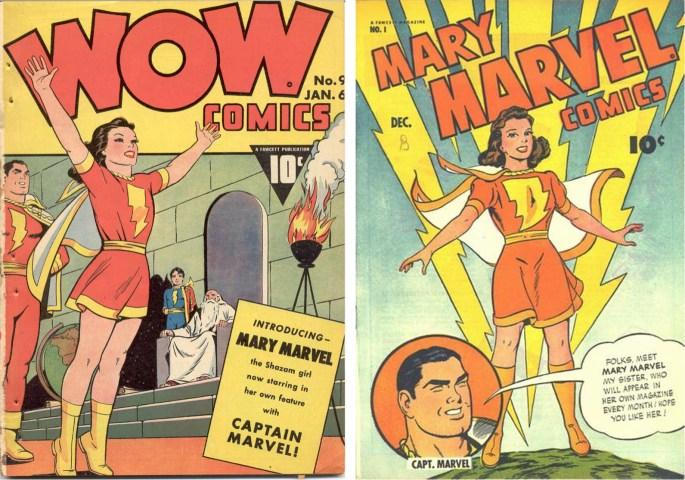 Omslag till Wow Comics #9 (januari 1943) och Mary Marvel Comics #1 (december 1945). ©Fawcett