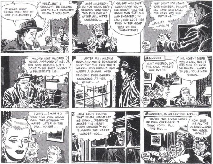 Tre dagsstrippar i original som avslutar första veckan med episoden, 10-12 mars 1949. ©KFS