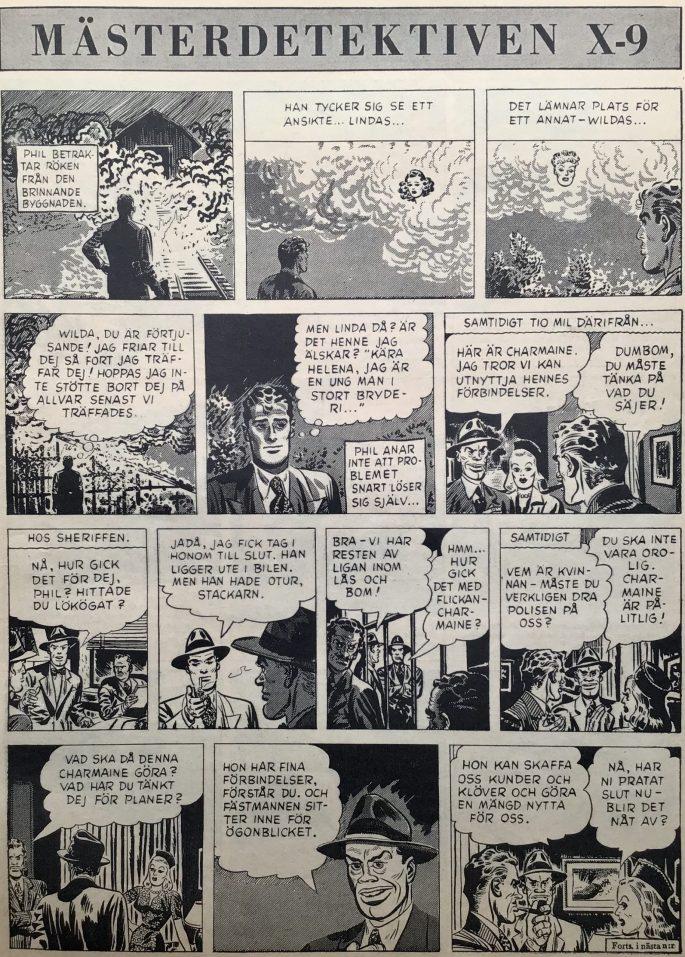Inledningen till episoden The Case of the Bandaged Ballplayer ur Agent X-9 i Karl-Alfred nr 1, 1950. ©Bulls
