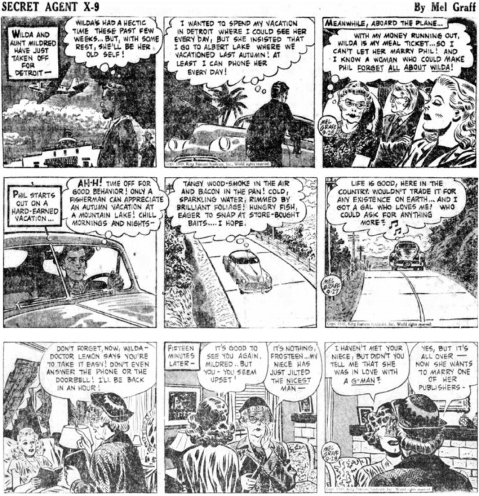 Inledande dagsstrippar i original ur episoden Dangerous Diamond från 26-28 september 1949. ©KFS