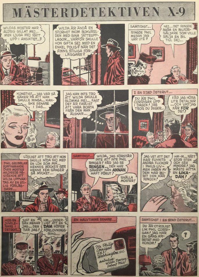 En sida med The Secret Stand-In ur Agent X-9 i Karl-Alfred nr 20, 1952. ©Bulls