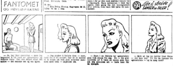 Fantomet ur Aftenposten den 26 november 1944. ©Bulls