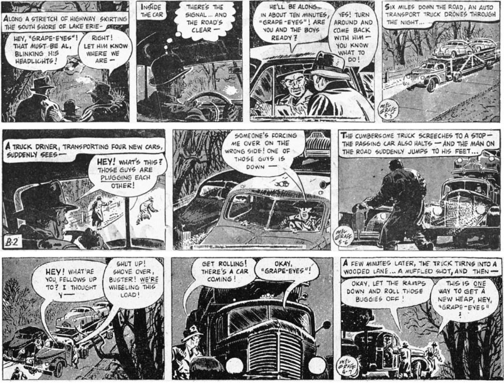 Inledande dagsstrippar i original ur episoden The Case of the Hi-Jacked Cars från 5-7 maj 1947. ©KFS