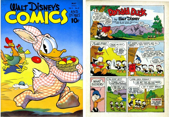 Omslag och inledande sida ur Walt Disney's Comics and Stories #32. ©Dell/Disney
