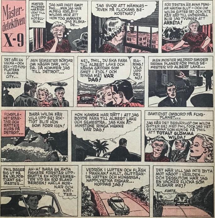 En sida med Agent X-9 i Karl-Alfred nr 9, 1953. ©Bulls