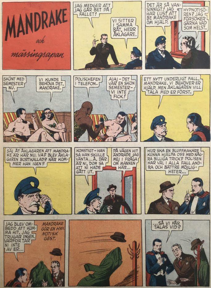 Den inledande sidan av episoden Mässingsapan ur Karl-Alfred nr 53, 1947. ©Bulls