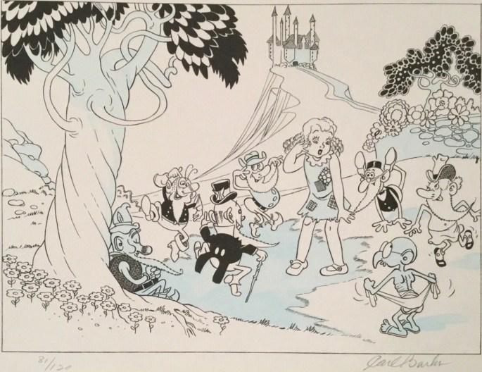En av de teckningar Barks skickade med sin ansökan om jobb hos Disney.