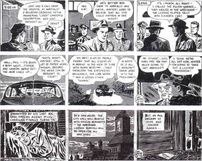 Avslutningen av episoden The Case of the Crooked Coroner, dagsstrippar i original från 24-26 juni 1948. ©KFS