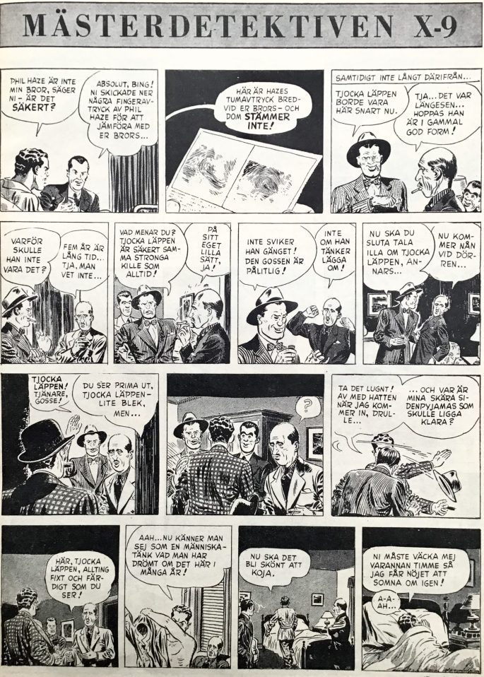 Inledningen till episoden om Liver-Lips ur Agent X-9 i Karl-Alfred nr 17, 1948. ©Bulls
