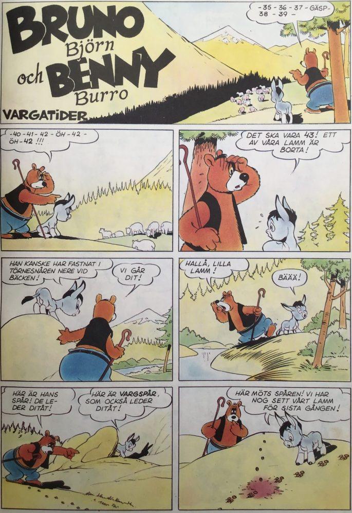 Första sidan ur episoden Vargatider, med Bruno Björn och Benny Burro. ©Turner