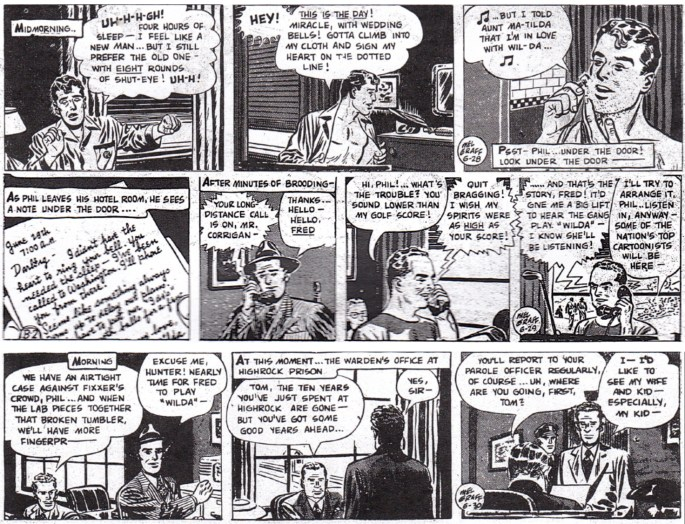 Inledningen av episoden The Case of the Frozen Fortune, dagsstrippar i original från 28-30 juni 1948. ©KFS