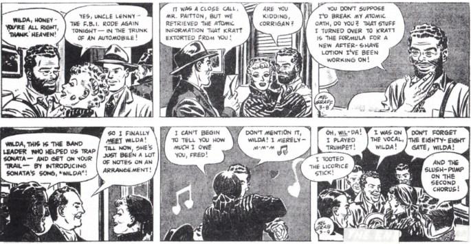 Avslutningen på episoden The Case of the Sinister Sonata, dagsstrippar i original från 8-9 mars 1948. ©KFS