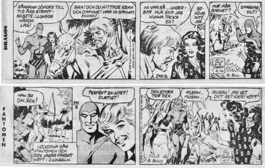 Sista dagsstrippen med Dragos och första med Fantomen i Svenska Dagbladet, från 23 och 25 februari 1980. ©Bulls