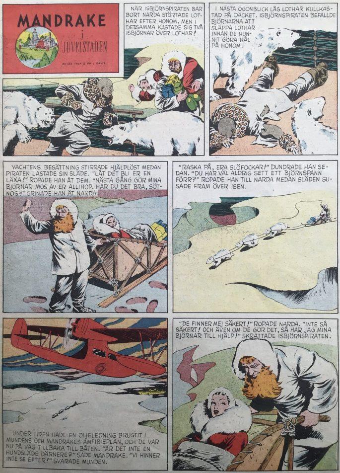 En sida med Mandrake ur Karl-Alfred nr 13, 1949. ©Bulls
