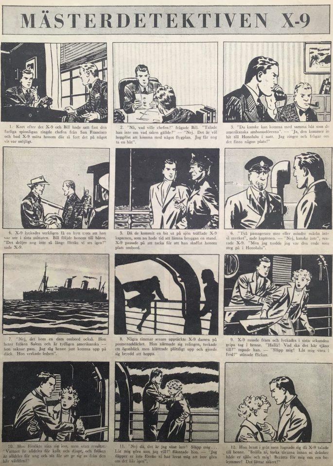 Inledningen till episoden Lady Diplomat ur Agent X-9 i Karl-Alfred  nr 10, 1946. ©Bulls
