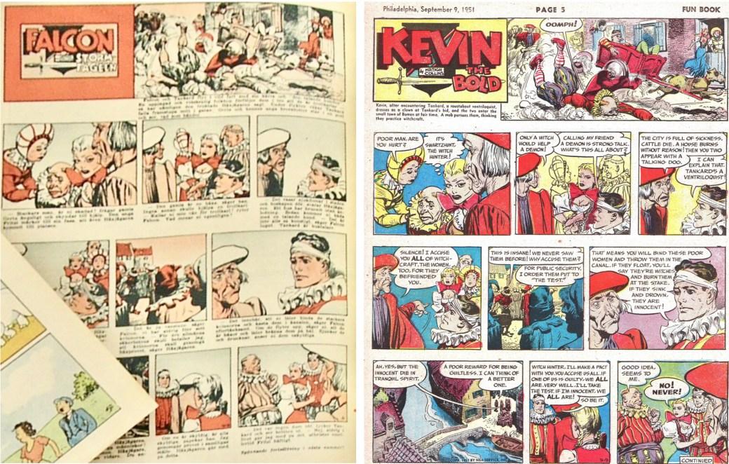 Falcon stormfågeln ur ett nr av Allas veckotidning 1952, och söndagssidan från den 9 september 1951. ©Aller/PIB/NEA