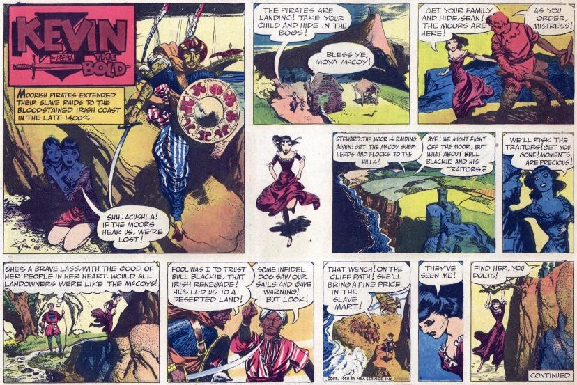 Första söndagsstrippen med Kevin The Bold (Roland den Djärve) från 1 oktober 1950. ©NEA