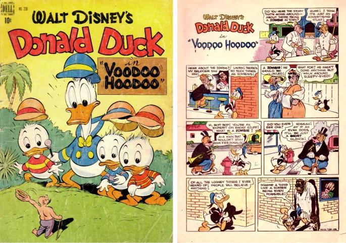Omslag och inledande sida till Voodoo Hoodoo (augusti 1949) ur Four Color Comic #238. ©Dell/Disney